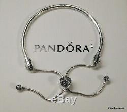 Nwt Authentic Pandora Bracelet Pave Heart Chain Slider #598699c01-2 Hinge Box