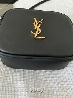 Ysl New Black Gold Monogram Shoulder Leather Bag Authentic Saint Laurent In Box