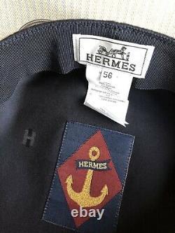 100% Authentique Hermès Paris Noir Vauban Wool Cap Marine Noir Taille 56 Nouvelle Boîte