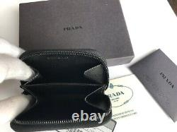 100% Authentique Prada Milano M268 Coin Purse/bifold Wallet Noir Newbox