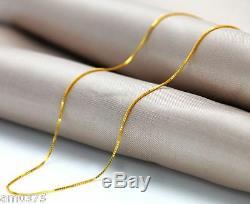 18inch Chaîne Authentique Or Jaune 18 Carats 0.6mm Chanceux Boîte Lien Collier En Chaîne Femme