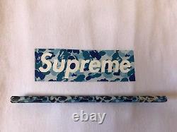 2002 Supreme X Bape Blue Abc Camo Box Logo T Chemise Taille Grand Ds Nouveau Authentique