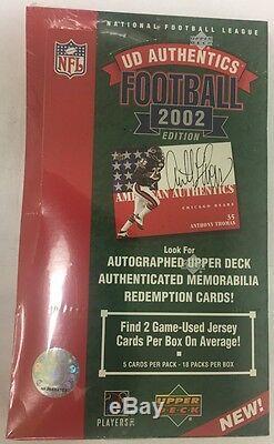2002 Upper Deck Authentics Football Hobby Box Scellé En Usine