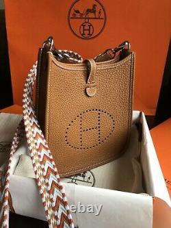 Authentic Hermes Paris Mini Evelyne 16 Tpm Brun Invoice Nouveau Avec Box