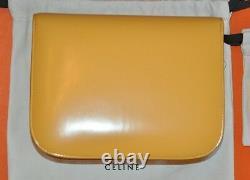 Authentic New Women's Celine Classic Box Yellow Calf Sac À Épaule Moyen En Cuir