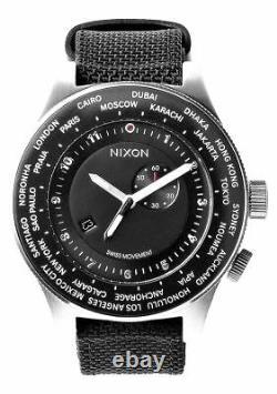 Authentic Nixon Passport Suisse Gmt World-time 49-mm Black Strap Watch A321000-00