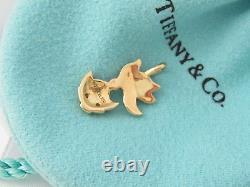 Authentic Rare New Tiffany & Co 18k Gold Fish Diamond Charm Pendentif Coffret