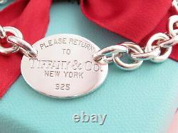 Authentic Tiffany & Co Argent 925 Ovale Veuillez Retourner Au Bracelet 8.5 Box