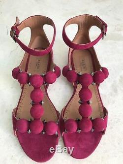 Authentique Alaia Sandal Bombe Framboise Couleur Flats Taille 38 Marque Nouveau Dans La Boîte
