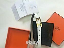 Authentique Bracelet Hermes Leather Gris Perle Double Tour Avecbox Et Sac
