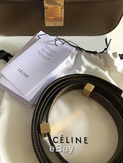 Authentique Céline Classique Boîte Sac Moyen En Cuir Veau Ancien Logo Rare Caramel Avec Des Étiquettes