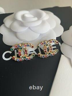Authentique Chanel CC Multicolore Or Boucles D'oreilles En Cristal Automne 2020 Nouveau Boxed
