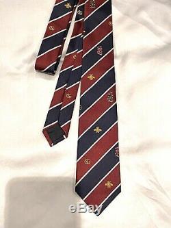 Authentique Gucci La Cravate Des Hommes Avec Les Abeilles Et Les Gg Logo Boîte W