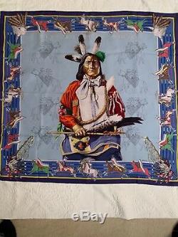 Authentique Hermes Pani La Shar Pawnee Soie Lavage Écharpe Avec 90 CM Boîte