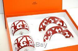 Authentique Hermes Rouge Balcon Du Guadalquivir Tea Cup & Saucer 2 Sets Neuf Dans La Boîte