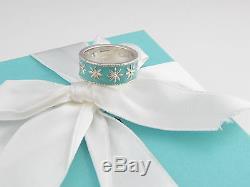 Authentique New Tiffany & Co Bague En Argent Marguerite Bleue Émail Taille 5 Boîte Pouch Ruban