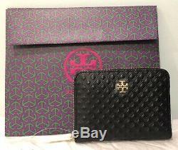 Authentique New Tory Burch Marion Cuir Embossé Monnaie Key Zip Wallet Noir + Box