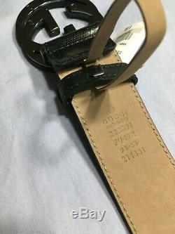 Authentique Noir Gucci Ceinture Imprime Hommes Neuf Avec L'étiquette In Box
