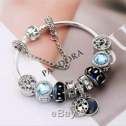 Authentique Pandora Charm Bracelet Argent Avec Charms Blue Star Européennes