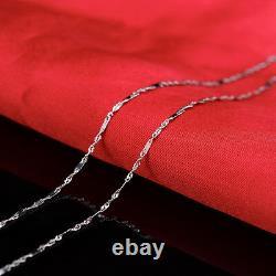 Authentique Pure 18k Collier Or Blanc Balise Classique Avec Boîte Lien Chaîne 18 Pouces