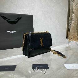 Authentique Saint Laurent Small Sunset Monogram Velvet Shoulder Bag With Box