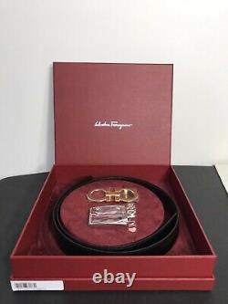 Authentique Salvatore Ferragamo Gancini Reversible Belt Boxed Set Size 34 36 Nwt