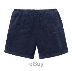 Authentique Suprême Terry Logo Short Navy Blue Xlarge XL Prêt À Nwt Boîte Navire