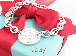 Authentique Tiffany & Co Argent 925 Ovale S'il Vous Plaît Retour À Bracelet 7.5 Boîte