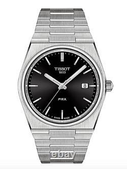 Authentique Tissot Prx Quartz Cadran Noir Résistant À L'eau Hommes Montre T1374101105100