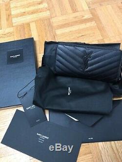 Authentique Yves Saint Laurent Ysl Noir Sur Porte-monnaie (comme Neuf) Avec Des Étiquettes Et La Boîte