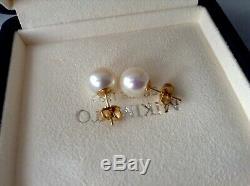 Authentiques Mikimoto 8,7 MM Boucles D'oreilles Pearl Mikimoto Boîtes