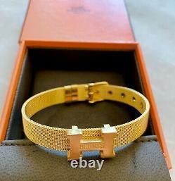 Bnib Authentic Hermes Bracelet En Métal Doré Bracelet Nouveau Dans La Boîte + Poche Et Ruban