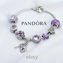 Bracelet Charme Pandora Authentique Silver Purple Love Heart Avec Des Charmes Européens