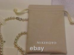 Brand New Authentic Mikimoto Pearl Collier 18 18k 9mm Perles Avec Boîtier Et Boîte