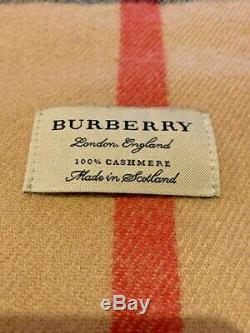Burberry London Classique Check Camel Beige 100% Authentique Écharpe De Cachemire Avec La Boîte