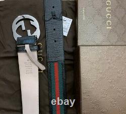Ceinture Gucci Authentique Noir, Rouge, Taille Boucle Verte Gg 100 CM Fits 34 / 36new In Box