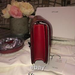 Celine Authentique $4350 Boîte Classique Moyen Sac En Veau Rouge