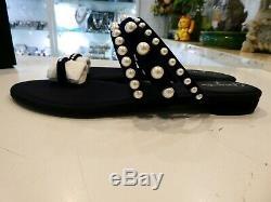 Chanel Sandales Thongs Pearl Flip Flops Velvet Navy Sz 40 -nouvelle Avec Boîte Et Authentique
