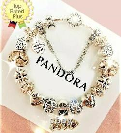 Charme Authentique Pandora Bracelet Argent Or Love Story Avec Charms