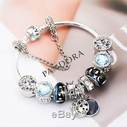 Charme Authentique Pandora Bracelet En Argent Bleu Amour Star Avec Charms