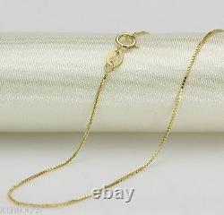 Collier En Or Jaune 18k Fin / 0.7mm Collier Chaîne De Boîte 16inch