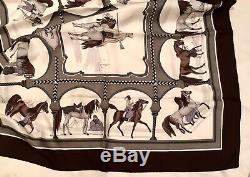 De Soie Authentique Hermes Nouveau + Boîte + Ruban, Chevaux Arabes, Grygkar, 90cm