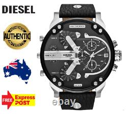 Diesel Dz7313 Mr Daddy 2.0 Authentic Mens Silver/ Leather New Watch