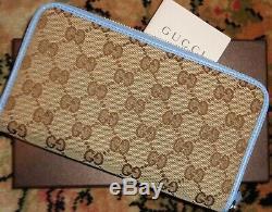 Fab! Tn-o Nouveau Dans La Boîte Authentique Gucci 650 $ Classique Gg Logo W Wallet Garniture En Cuir