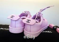 Fantaisie Chanel Authentique Rose Sneakers 40 Baskets Chaussures À Lacets Runners Nouveau Box