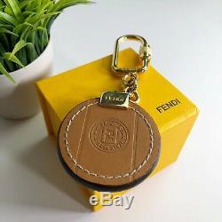 Fendi Authentique Vintage Zucca Charm Porte-clés En Cuir Brun Porte D'or Avec La Boîte