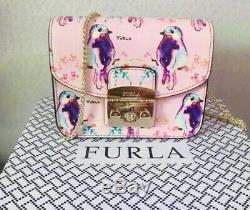 Furla Oiseau Mini Metropolis Sac Bandoulière Rose, Neuf Avec Des Étiquettes + Box Authentique Rare