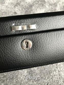 Grand Authentique Pandora En Cuir Noir / Suede Intérieur Boîte À Bijoux Nouveau Avec Clé