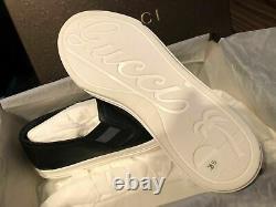 Gucci Authentique Cuir Pour Femmes 473974 Chaussures De Sport Noir Ue 38,5 8,5 New Box