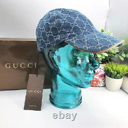 Gucci Authentique Gg Logo Denim Baseball Chapeau Unisexe Us S Avec La Boîte De Réception Des Tn-o